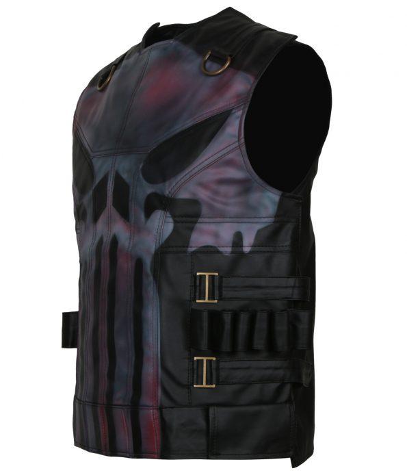 The Punisher Season 2 Jon Bernthal Black Biker Leather Vest Cosplay Costume