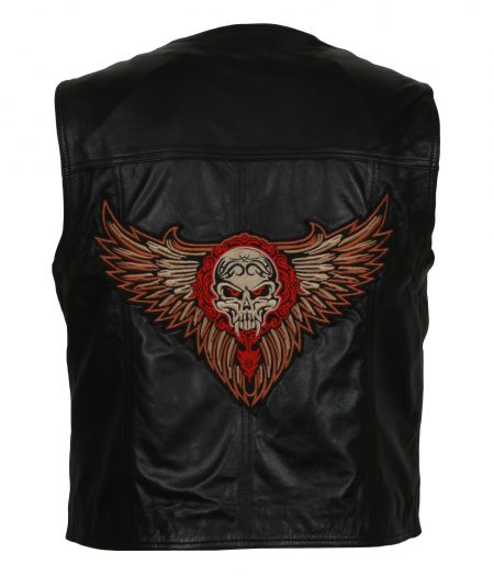 The Warriors Men Skull Embroidered Black Motorcycle Leather Vest Costume