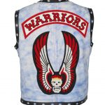 The Warriors Movie Blue Distressed Biker Leather Vest