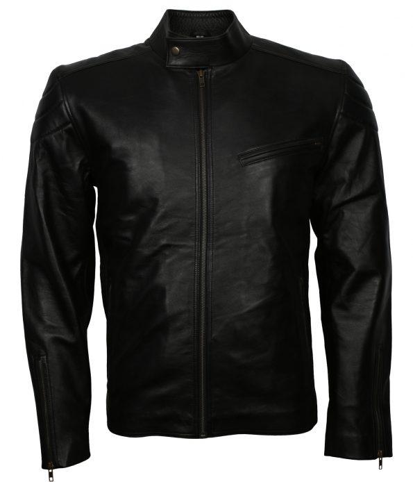 Vin Diesel Men Quilted Cafe Racer Black Biker Leather Jacket
