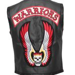 Warrios Men Black Motorcyle Leather Hallowen Vest