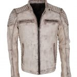 White Brando Quilted Leather Motorcyle Jacket