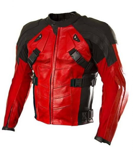 Armored Style Deadpool Motorcycle Leather Jacket