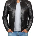 Austin Cafe Racer Black Leather Jacket Mens