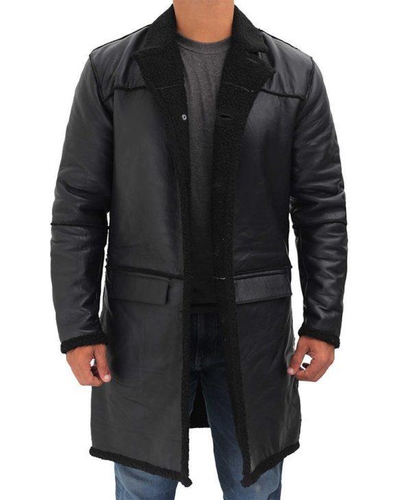 Rockville Black Shearling Long Leather Coat Mens