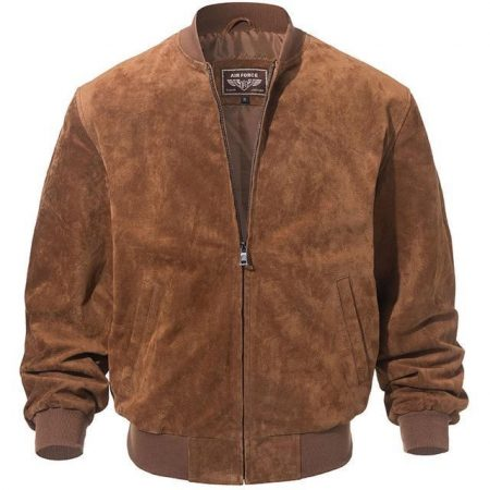 Adamsville Brown Suede Bomber Leather Jacket Mens
