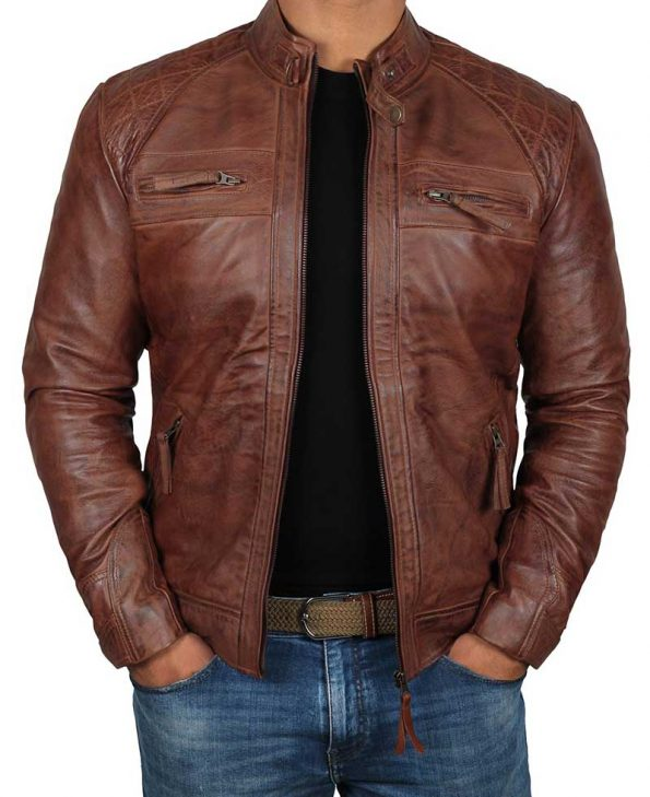 Johnson Distressed Quilted Brown Leather Cafe Racer Jacket Men