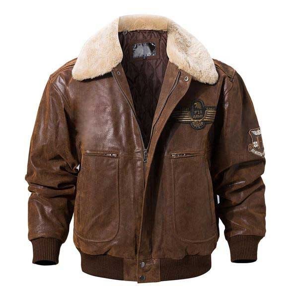 Pierson Shearling Collar Bomber Brown Leather Jacket Mens
