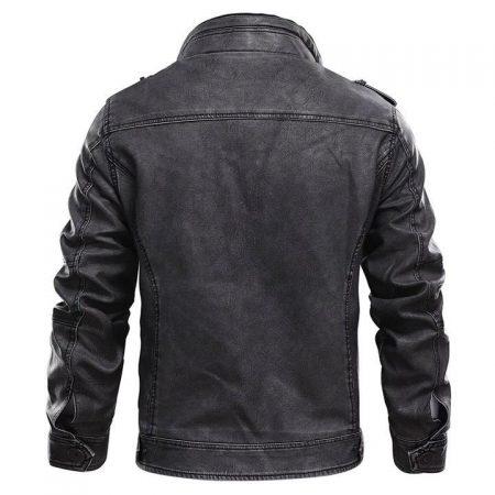 Tavares Black Distressed Leather Cafe Racer Jacket