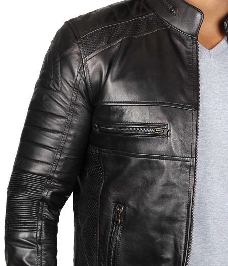 Austin Cafe Racer Black Leather Jacket Mens