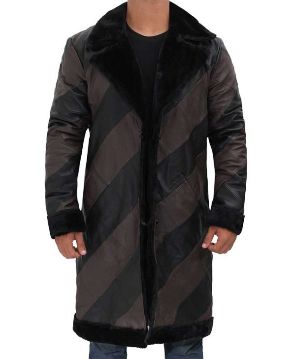 Ralph Two Tone Long Mens Leather Shearling Coat