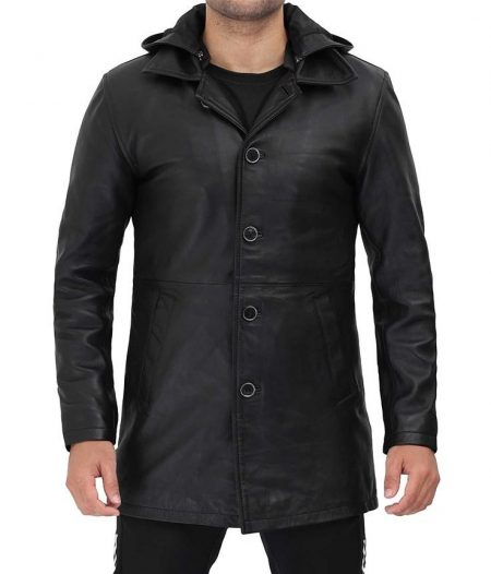 Devine Mens Black Leather Jacket 3 4 Length with Hood