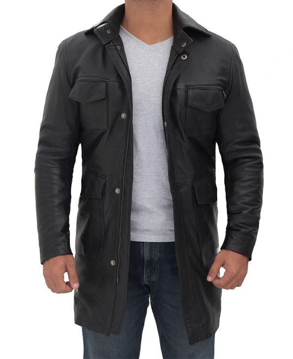 Shelby Mens Four Pocket Black 3 4 Length Leather Coat