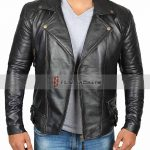 Frisco Asymmetrical Mens Black Leather Motorcycle Jacket