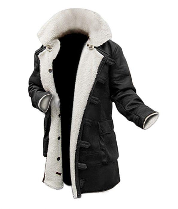MensWinter Black Leather Shearling Coat - 3/4 Length