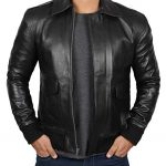 Mens Black Lambskin A2 Bomber Leather Jacket