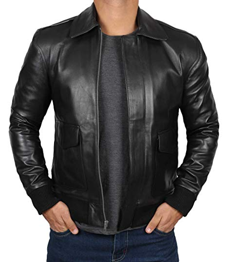 Mens Black Lambskin A2 Bomber Leather Jacket