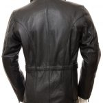 Mens Black Leather 3 4 Length Jacket - Asymmetrical Belted Winter Coat