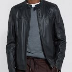 Mens Biker Real Black Leather Jacket