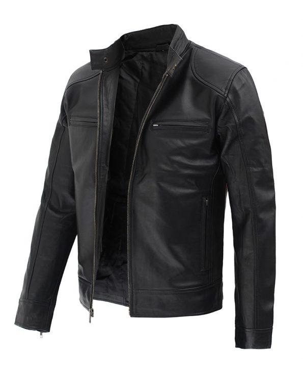 Dodge Black Mens Leather Racer Jacket