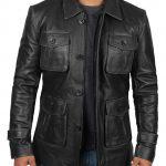 Atlanta Mens Four Pocket Distressed Black Leather Jacket