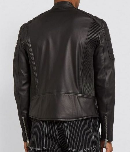Mens Moto Real Black Leather Jacket