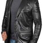 Two Button Notch Lapel Black Leather Blazer Jacket Mens