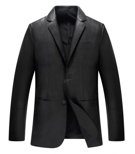 Caledon Real Cowhide Black Leather Blazer for Men