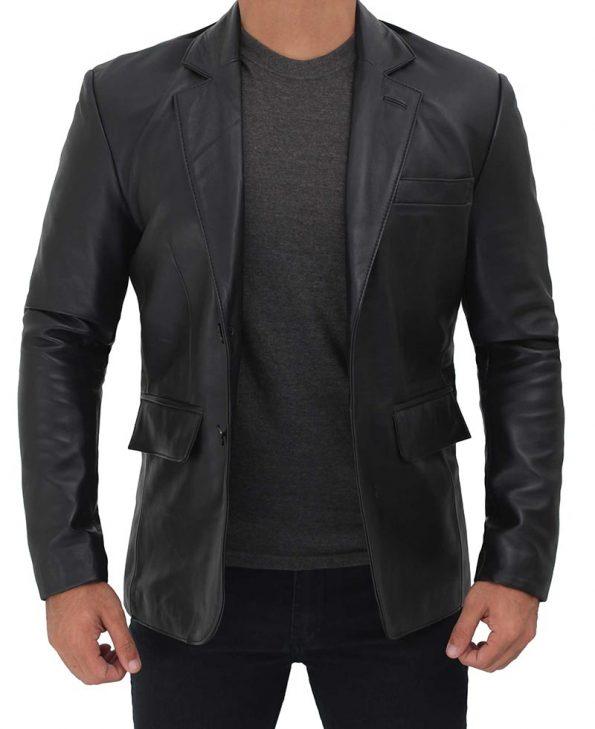 Black Two Button Notch Lapel Leather Blazer Jacket Mens
