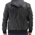 Frank Black Leather Hooded Bomber Jacket Mens