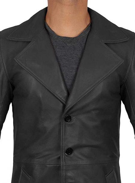 Mens 3/4 Length Black Wide Collar Winter Leather Coat