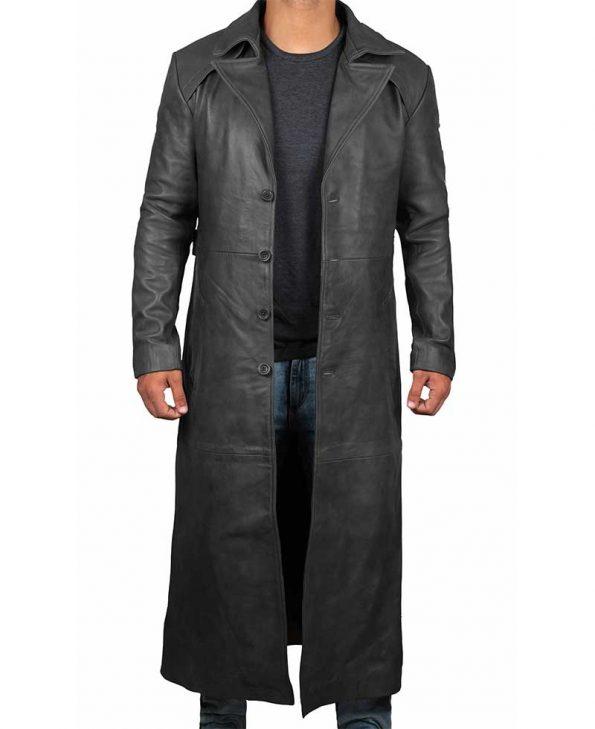 Mens Leather Black Winter Trench Coat - Full Length Overcoat