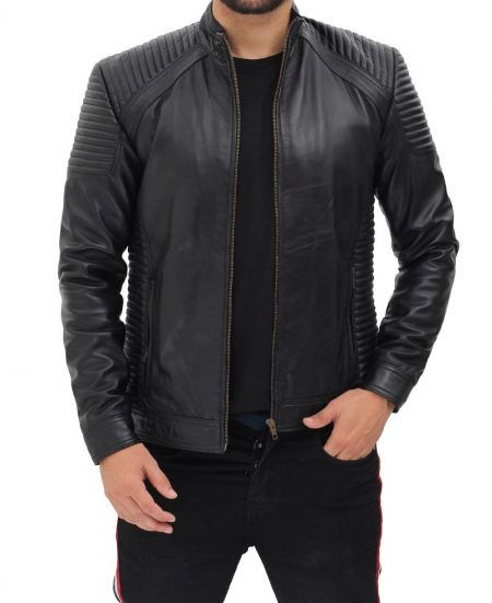 Trento Mens Black Fitted Quilted Leather Jacket