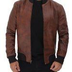 Torres Mens Leather Distressed Bomber Jacket