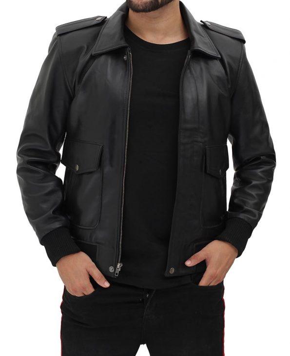 Pesaro Mens Shirt Collar Black Leather Bomber Jacket