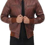Johnston Mens Brown Lambskin Bomber Leather Jacket