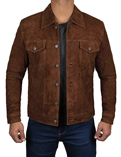 Logan Dark Brown Suede Leather Jacket for Men