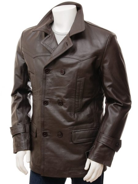 Colwood Dark Brown Leather Double Breasted Mens 3 4 Coat