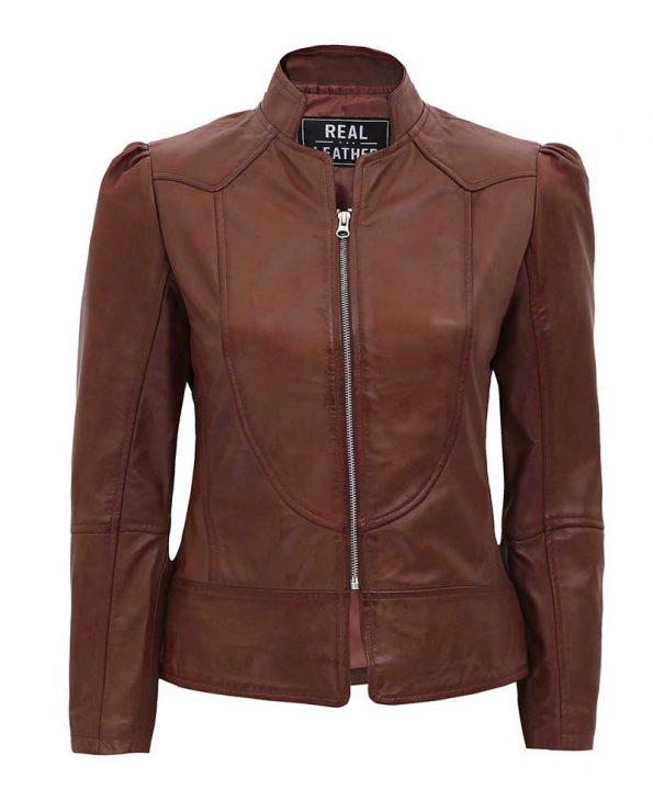 Montana Womens Brown Leather Biker Jacket