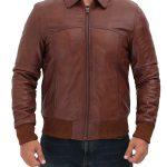 Steven Brown Leather Bomber Jacket Mens