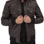 Brian Mens Bomber Dark Brown Leather Jacket