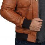 Mens Brown Leather Bomber Jacket - Removable Hood