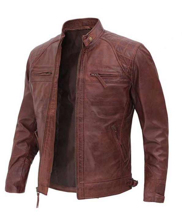 Distressed Brown Leather Jacket for Men - Premium Lambskin Leather