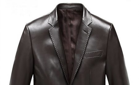 Mens Brown Notch Lapel Two Button Leather Blazer Jacket