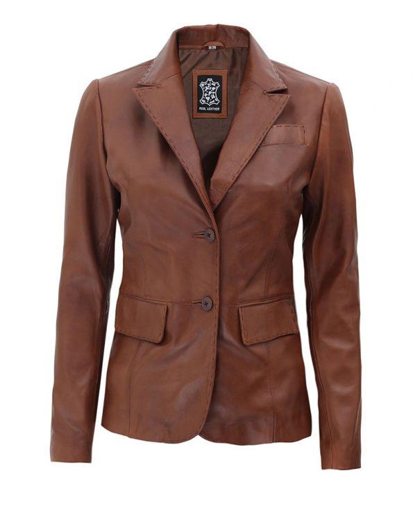 Brown Notch Lapel Two Button Womens Leather Blazer Jacket