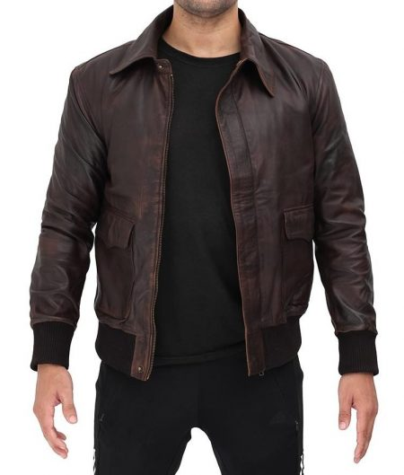 Ernest Bomber Distressed Dark Brown Waxed Leather Jacket
