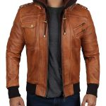 Edinburgh Mens Brown Leather Bomber Jacket With Hood