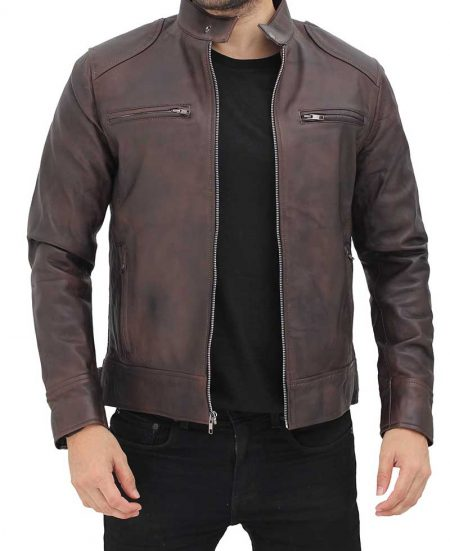 Dodge Mens Distressed Brown Leather Racer Jacket