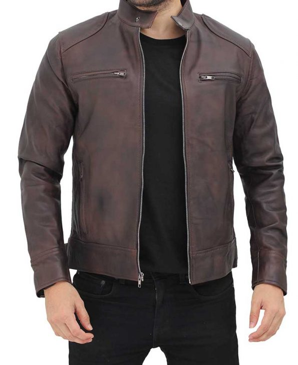 Dodge Mens Distressed Brown Leather Racer Jacket