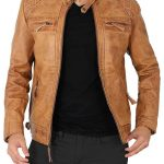 Johnson Quilted Distressed Camel Leather Jacket Mens